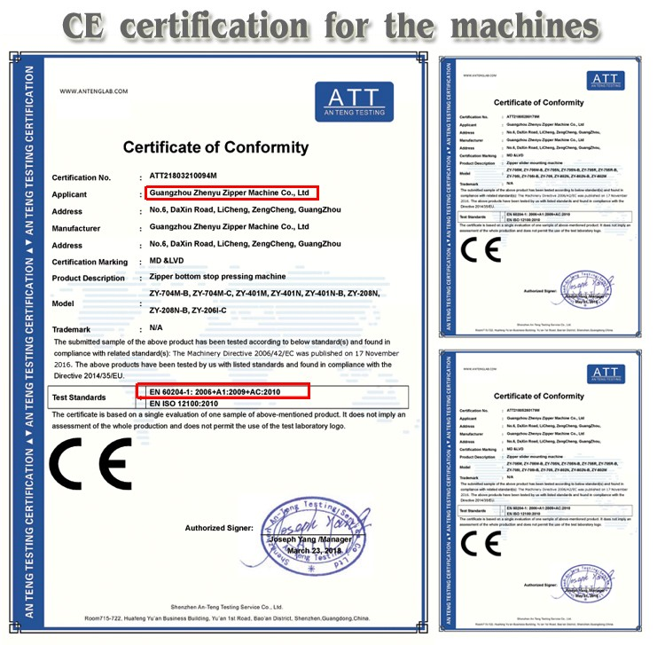ce certificate for zipper machines from zyzm